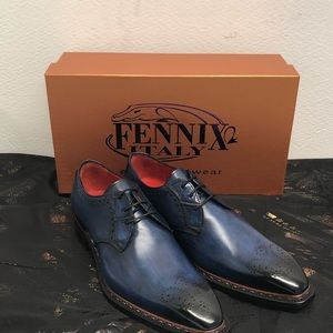 Fennix Italy shoes blue leather calf/alligator